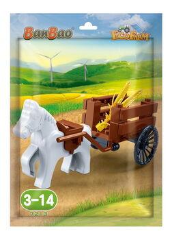 Конструктор Banbao (Банбао) 7213 Лошадка с повозкой, в пакетике, 27 деталей