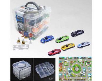 Набор игровой Машинки металлические в пластиковом контейнере, 1:64, 6 штук, с аксессуарами, 16х16х12,50 см