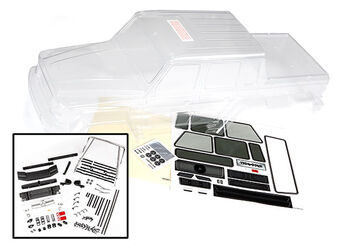Запчасть Traxxas Body, Mercedes-Benz® G 63® (clear, requires painting)/ decals/ window masks (includes grille, side mirrors, door handles, , windshield wipers)