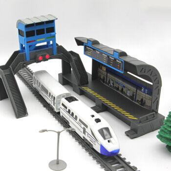 Железная дорога с пассажирской станцией, скоростной поезд, длина полотна 244 см - BSQ-2185