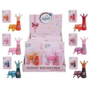 Набор декоративной косметики для девочек Зефирка сказочная серия. Лак для ногтей и блеск для губ. 6 видов