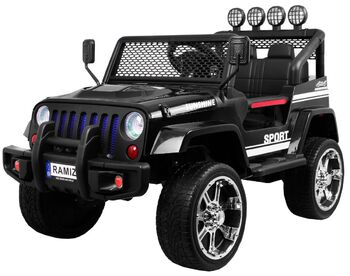 Электромобиль Black Jeep 4WD 12V - S2388