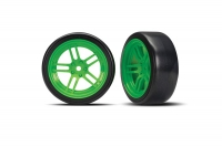 "Tires and wheels, assembled, glued (split-spoke green wheels, 1.9"" Drift tires) (front)"