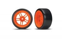 "Tires and wheels, assembled, glued (split-spoke orange wheels, 1.9"" Drift tires) (rear)"
