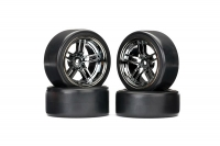 """Tires and wheels, assembled, glued (split-spoke black wheels, 1.9"""" Drift tires) (front and rear)"""