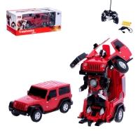 Робот-трансформер радиоуправляемый Jeep Wrangler, работает от аккумулятора, масштаб 1:14, МИКС mz 2825P