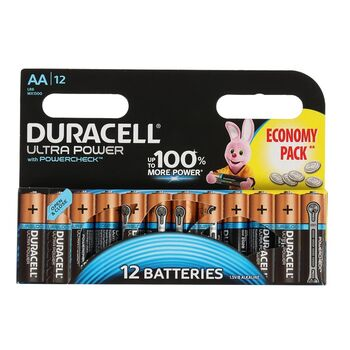 Батарейка алкалиновая Duracell UltraPower, АА, LR6-12BL, 12 шт