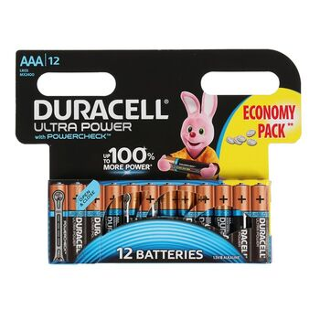 Батарейка алкалиновая Duracell UltraPower, ААА, LR03-12BL, 12 шт
