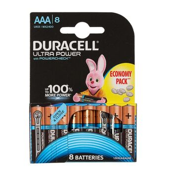 Батарейка алкалиновая Duracell UltraPower, ААА, LR03-8BL, 8 шт