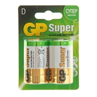 Батарейка алкалиновая GP Super, D, LR20-2BL, блистер, 2 шт.