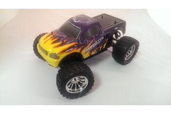 Радиоуправляемый джип с ДВС HSP 94188-88025 4WD Nitro Off Road Monster Truck 1:10 желто-фиолетовый