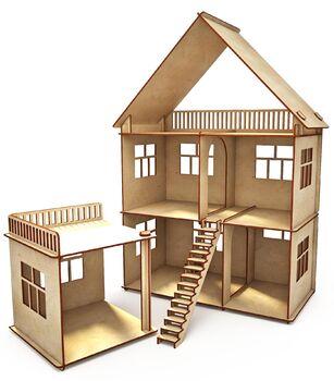 Конструктор-кукольный домик ХэппиДом Коттедж с пристройкой из дерева