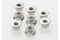 Nuts, 4mm flanged nylon locking (steel, serrated) (8)