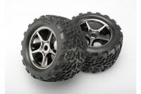 Tires & wheels, assembled, glued (Gemini black chrome wheels, Talon tires, foam inserts) (2)