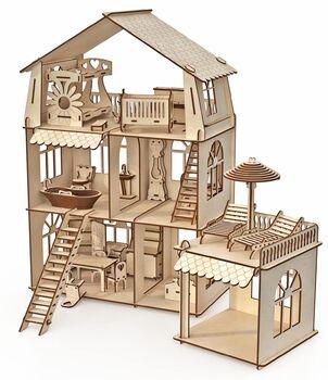 Конструктор-кукольный домик ХэппиДом Коттедж с пристройкой и мебелью Premium