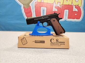 Детский пистолет металлический Colt M1911A1 С.8 калибр 6мм