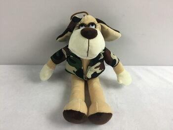 Мягкая игрушка Собака в камуфляжном костюме, 15см