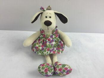 Мягкая игрушка Собака в платье с цветами, 16см