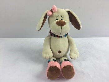 Мягкая игрушка Собака с розовым бантом, 17см