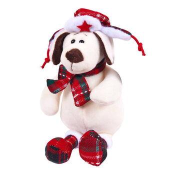 Мягкая игрушка Собака в ушанке с шарфом,18см
