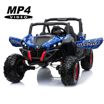 Двухместный полноприводный электромобиль Blue Spider UTV-MX Buggy 12V MP4 - XMX603-BLUE-PAINT-MP4