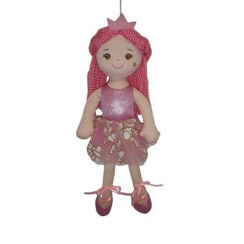 Кукла мягконабивная Принцесса в розовом блестящем платье и короной, 38 см