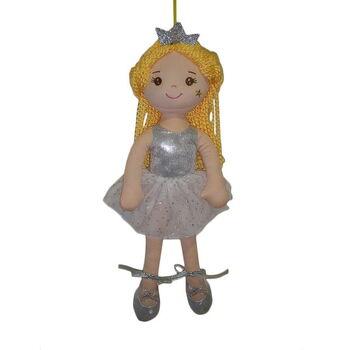 Кукла мягконабивная Принцесса в серебрянном блестящем платье и короной, 38 см