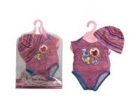 Одежда для куклы 45 см: боди и шапочка, (розовый)