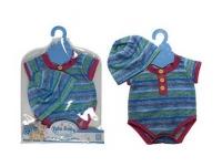 Одежда для куклы 45 см: боди и шапочка, (синий)