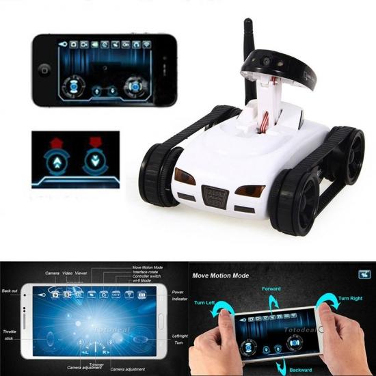 Радиоуправляемый шпионский танк HappyCow Wi-Fi 777-270 с видеокамерой и управлением через iPhone, iPad