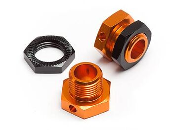Хабы колес 17мм (ширина 5mm) с гайками (Orange/Black) 2компл 5mm Hex Wheel Adapters Trophy Buggy (Or